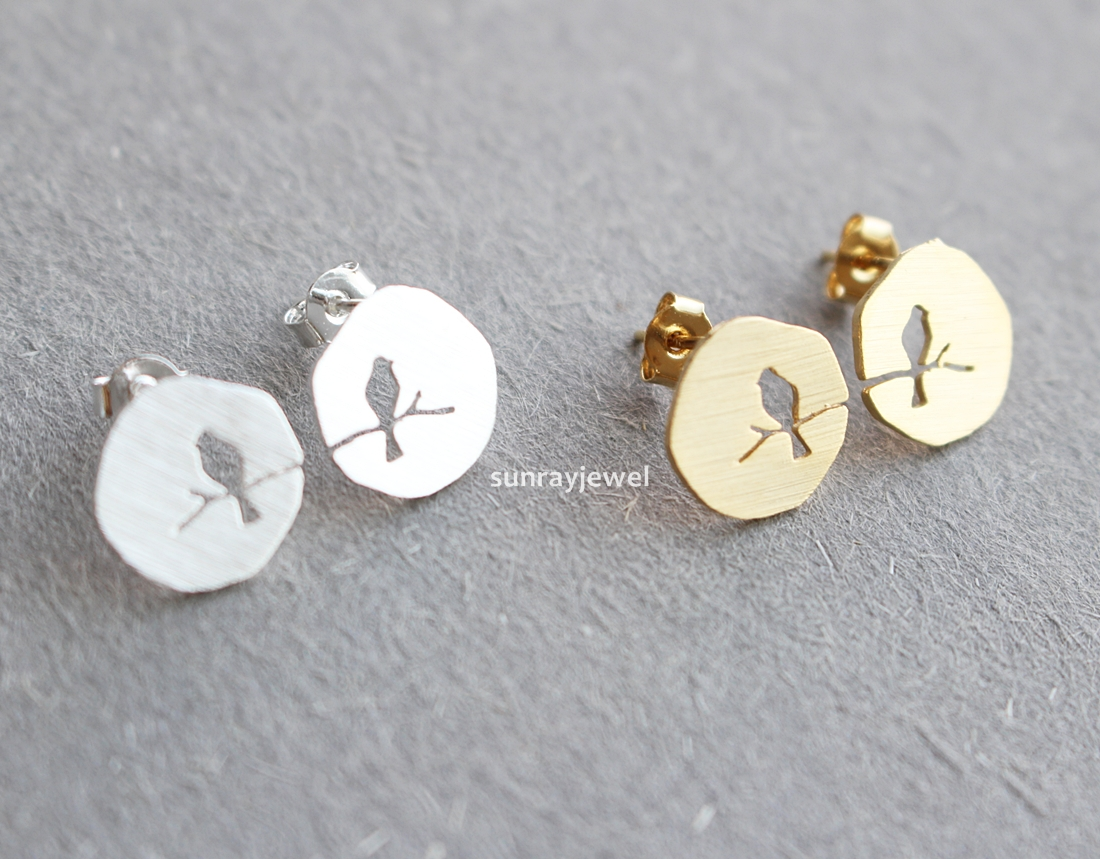 Bird On Branch Stud Earrings Sterling Silver Post Simple Geometric Coin