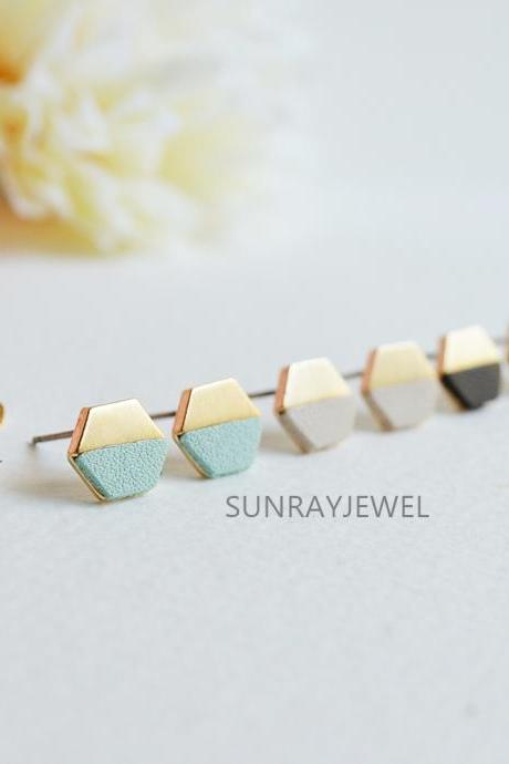 Gold Colour Block Hexagon Stud Earrings, Jewelry