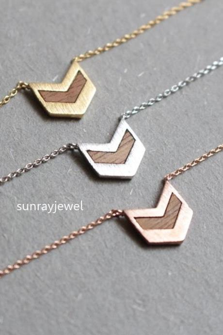 Wood Chevron triangle necklace, Arrow necklace, Geometric necklace, V necklace, Gift