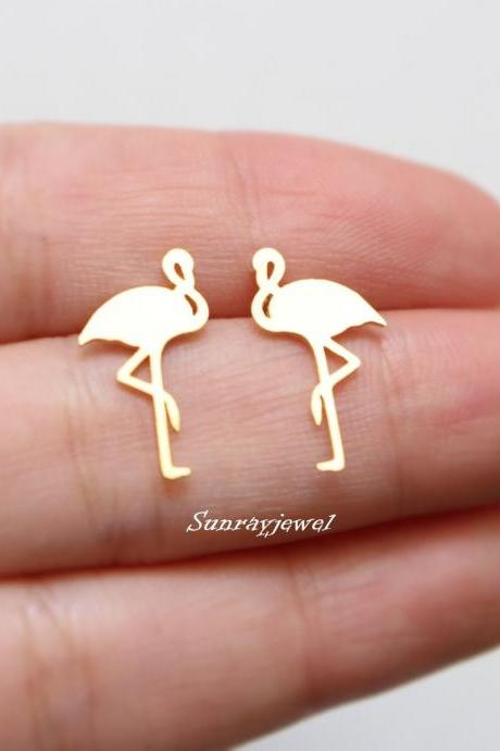 Flamingo stud earrings, Sterling Silver Posts, Simple earrings, Minimal