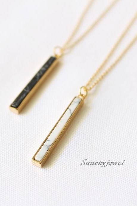 Vertical Stone bar necklace, Black stone, White stone, Howlite stone necklace, Black, White, Geometric necklace, gift, boho