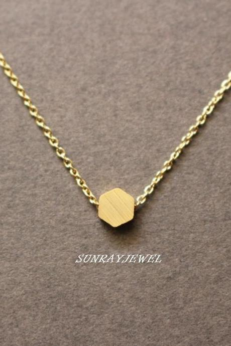 Tiny Hexagon necklace, Brushed finish hexagon, geometric necklace, tiny dot, gold dot, minimal