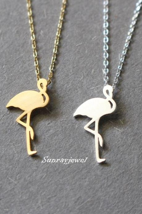 Flamingo necklace, minimal necklace, animal necklace, bird necklace