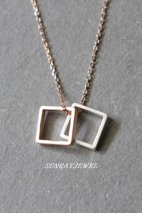 Rose gold Square necklace, Geometric necklace, Simple, Minimal