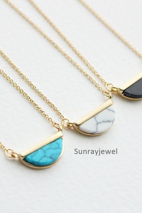 Half Circle Howlite Stone necklace in gold, Black Stone , White Stone, Turquoise necklace, Geometric, Gift