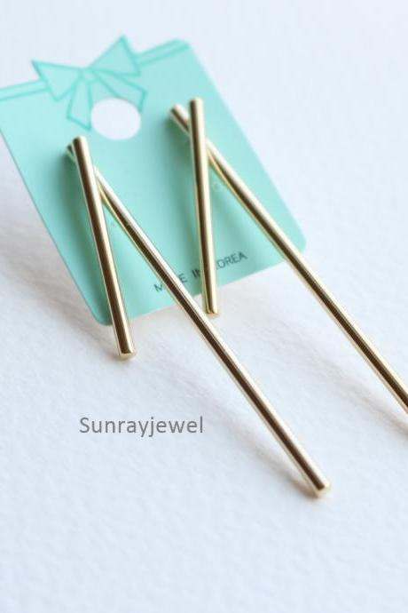 Vertical Bar Front Back Earrings in Gold, Bar earrings, Bar studs, Geometric, Gift, Simple