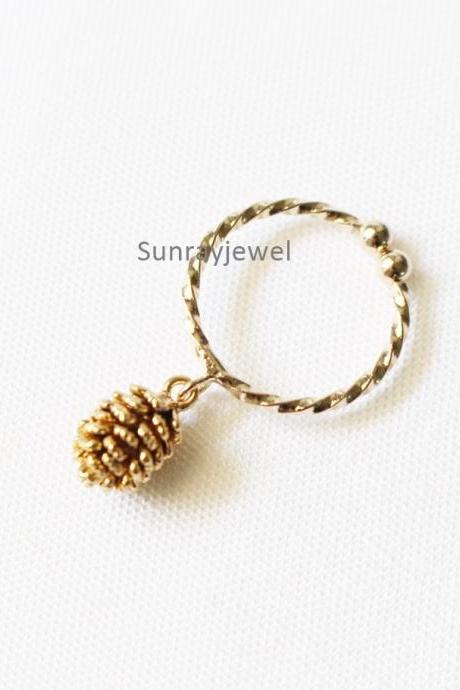 Pine Cone Ring in gold, Stacking ring, Adjustable ring, Open ring, Knuckle ring, Gift, Simple