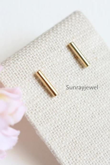 Small Bar Stud earrings in gold, Gold bar earrings, Simple, Minimal earrings
