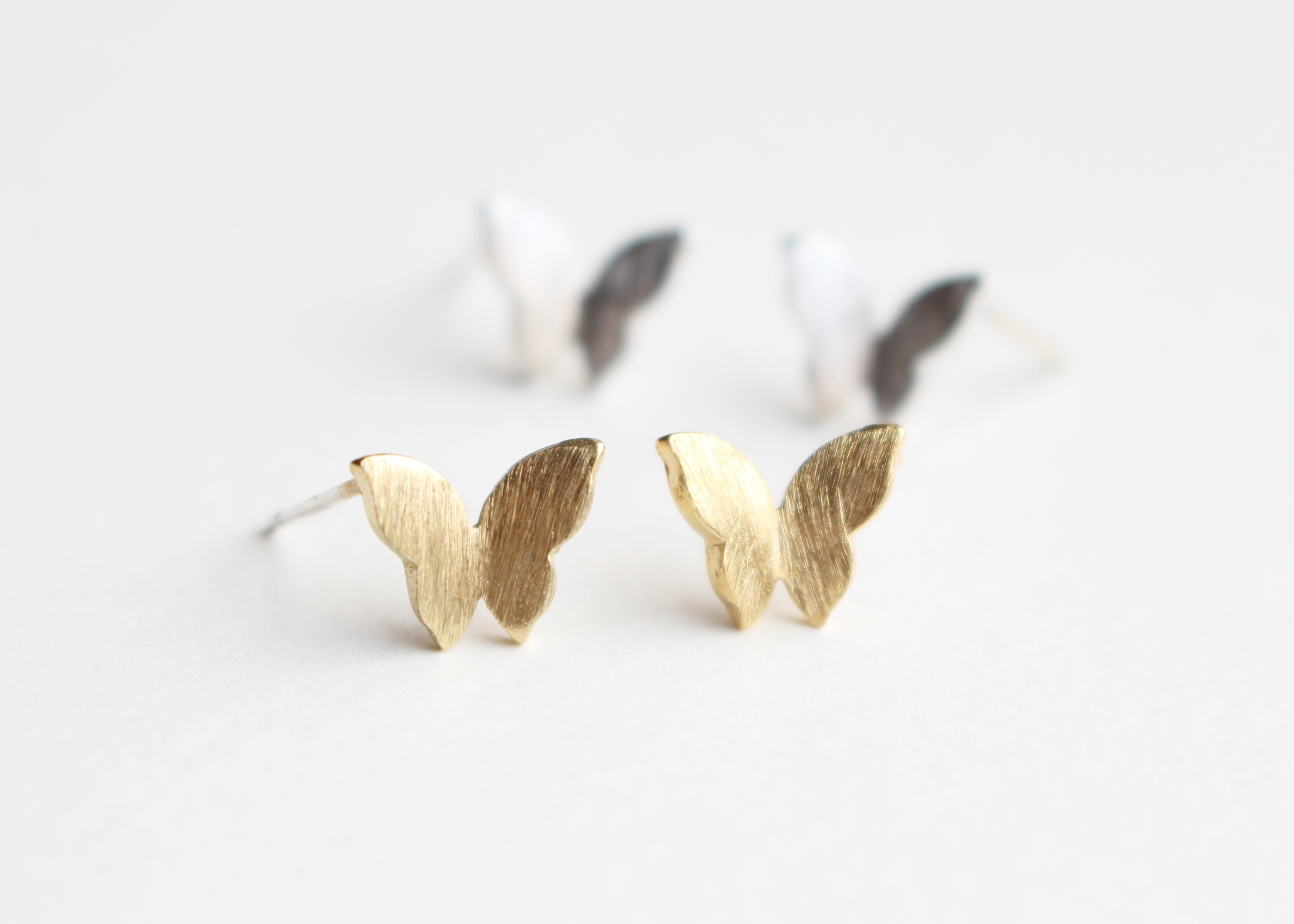 colourful silver autumn sterling studs c stud ear butterfly earrings