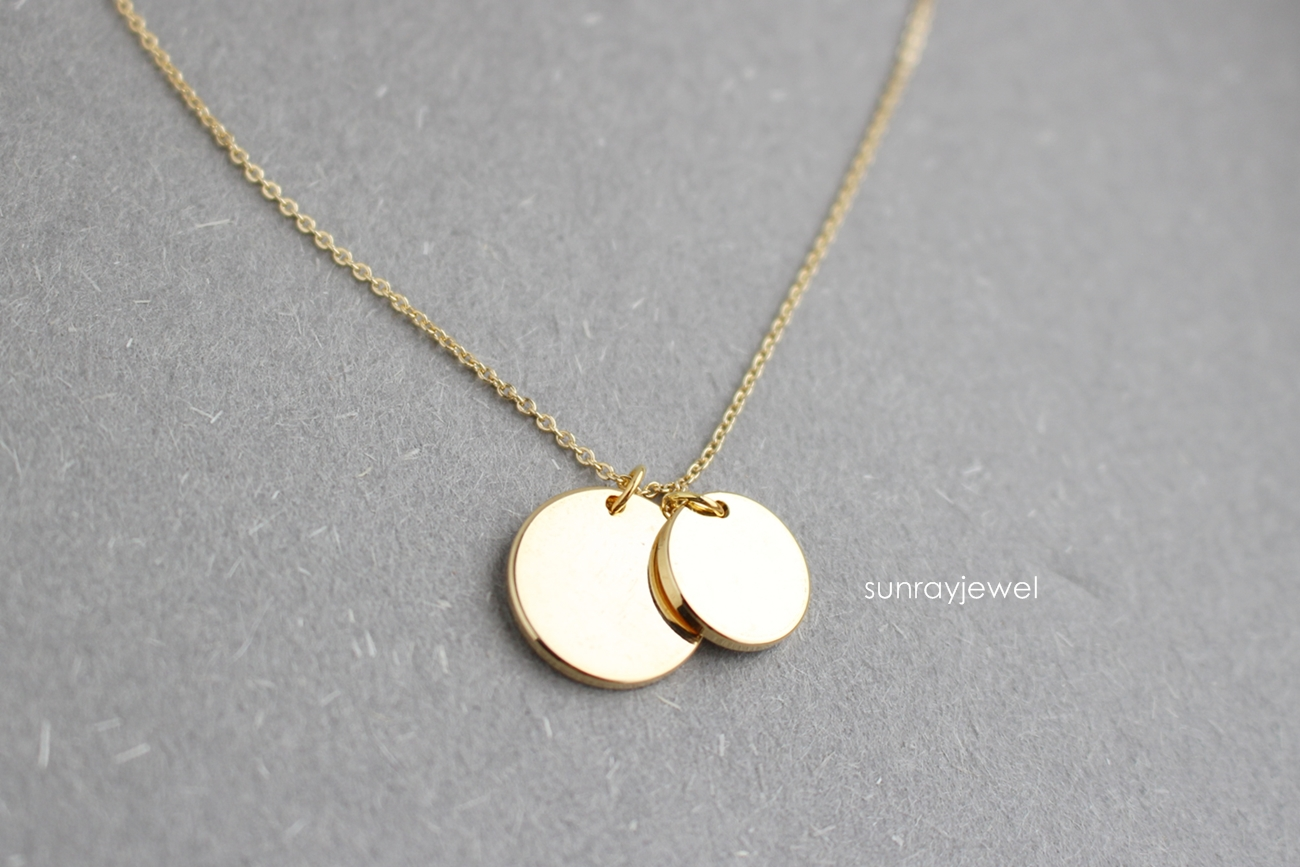 geometric product simple original in coin necklace double disc gold minimal